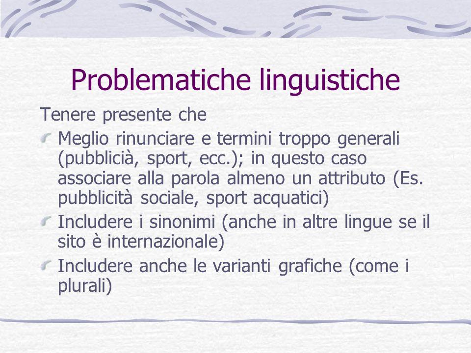 Problematiche linguistiche