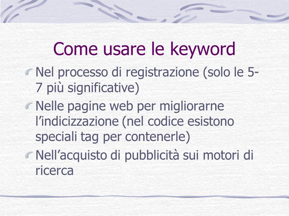 Come usare le keyword Nel processo di registrazione (solo le 5-7 più significative)