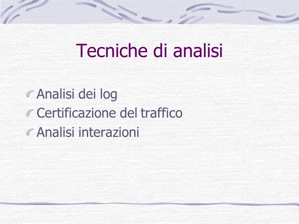 Tecniche di analisi Analisi dei log Certificazione del traffico