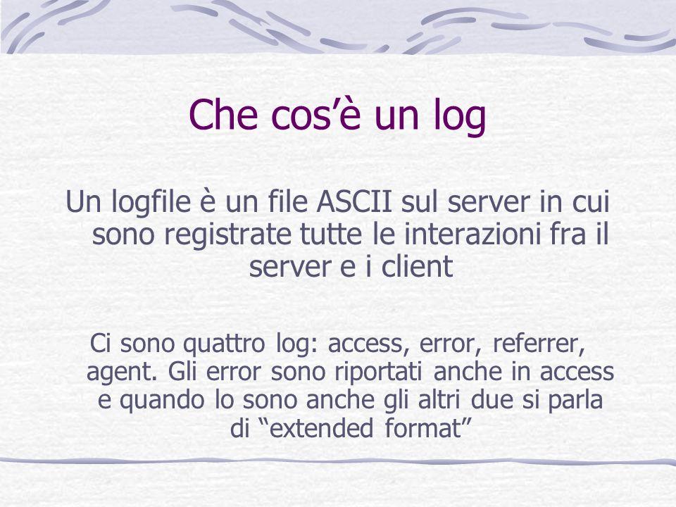 Che cos'è un log Un logfile è un file ASCII sul server in cui sono registrate tutte le interazioni fra il server e i client.
