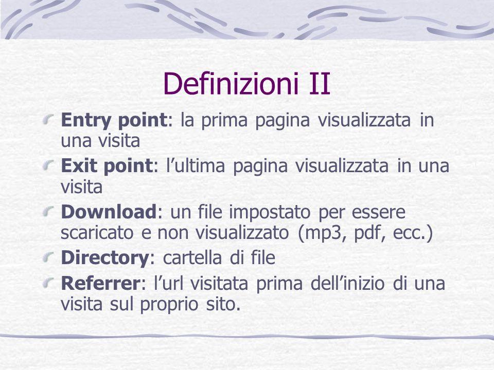 Definizioni II Entry point: la prima pagina visualizzata in una visita