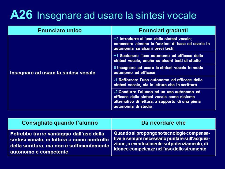 A26 Insegnare ad usare la sintesi vocale