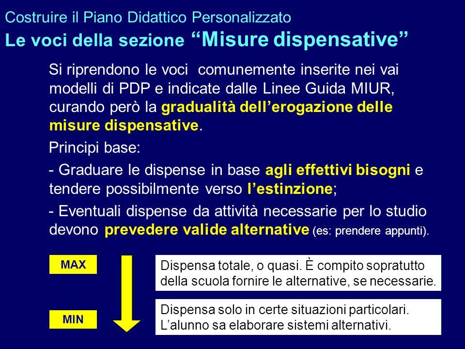 Costruire il Piano Didattico Personalizzato Le voci della sezione Misure dispensative