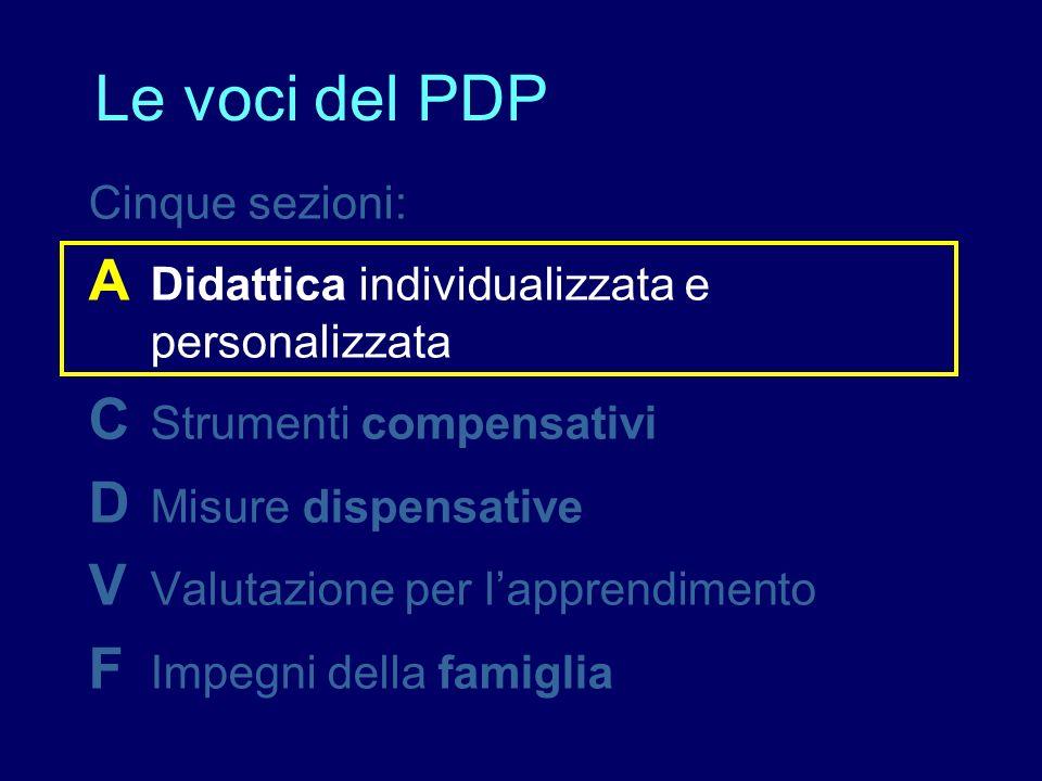 Le voci del PDP A Didattica individualizzata e personalizzata