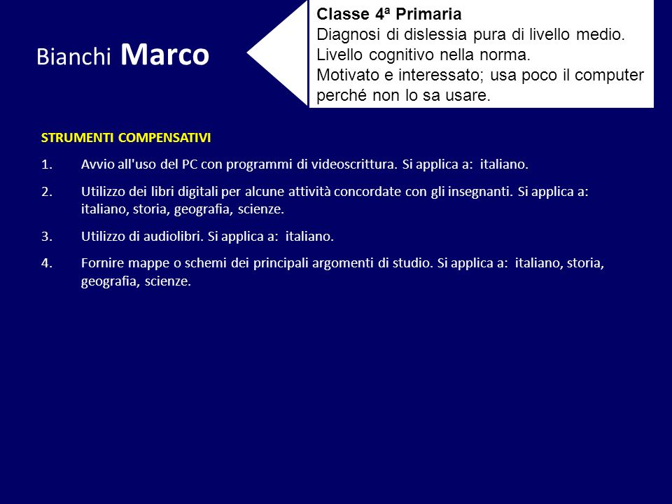 Bianchi Marco Classe 4ª Primaria