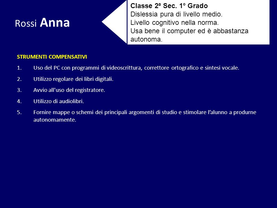 Rossi Anna Classe 2ª Sec. 1° Grado Dislessia pura di livello medio.