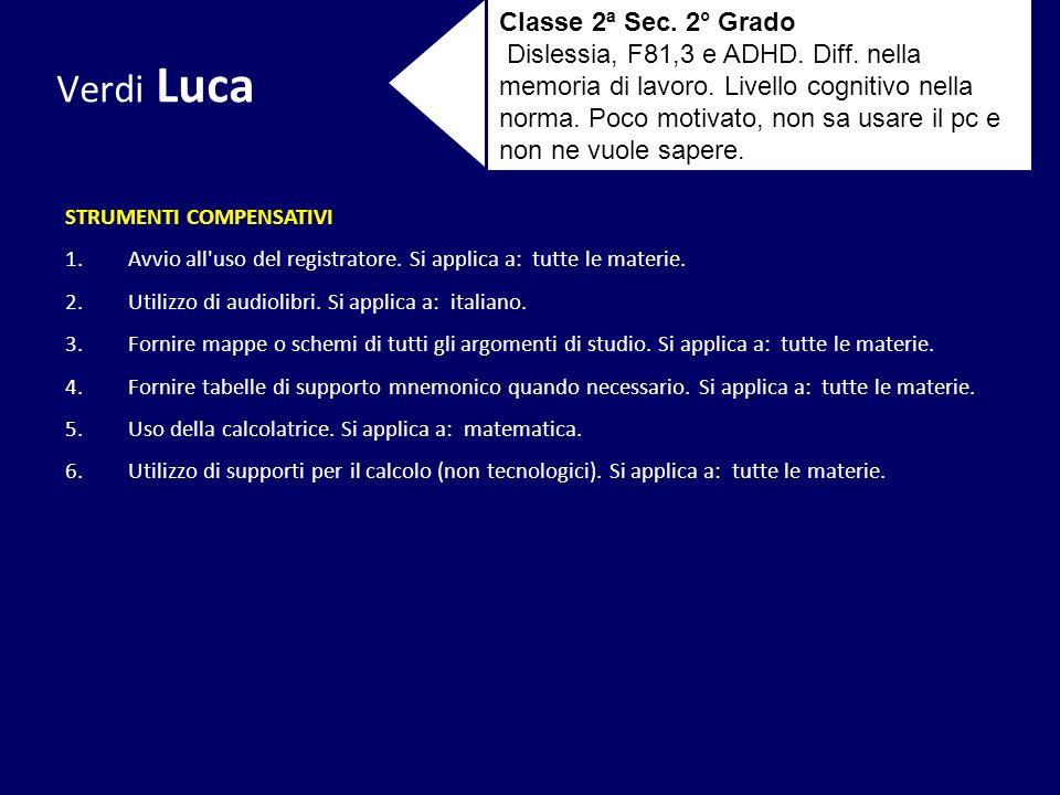 Verdi Luca Classe 2ª Sec. 2° Grado