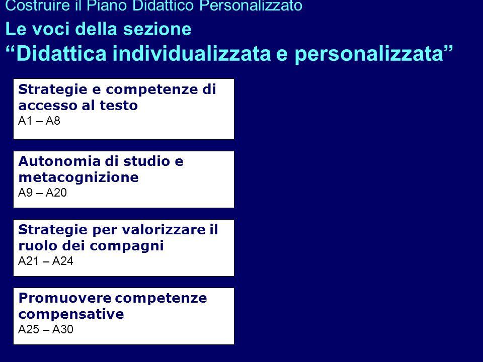 Costruire il Piano Didattico Personalizzato Le voci della sezione Didattica individualizzata e personalizzata