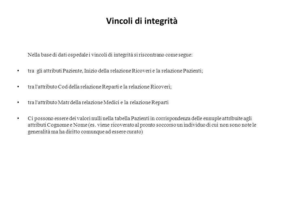 Vincoli di integrità Nella base di dati ospedale i vincoli di integrità si riscontrano come segue: