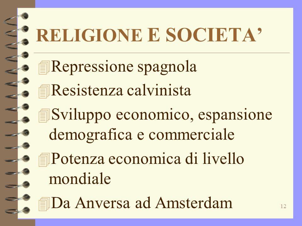RELIGIONE E SOCIETA' Repressione spagnola Resistenza calvinista