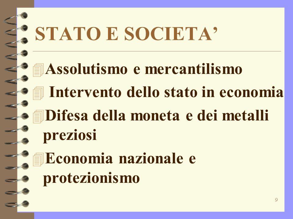STATO E SOCIETA' Assolutismo e mercantilismo