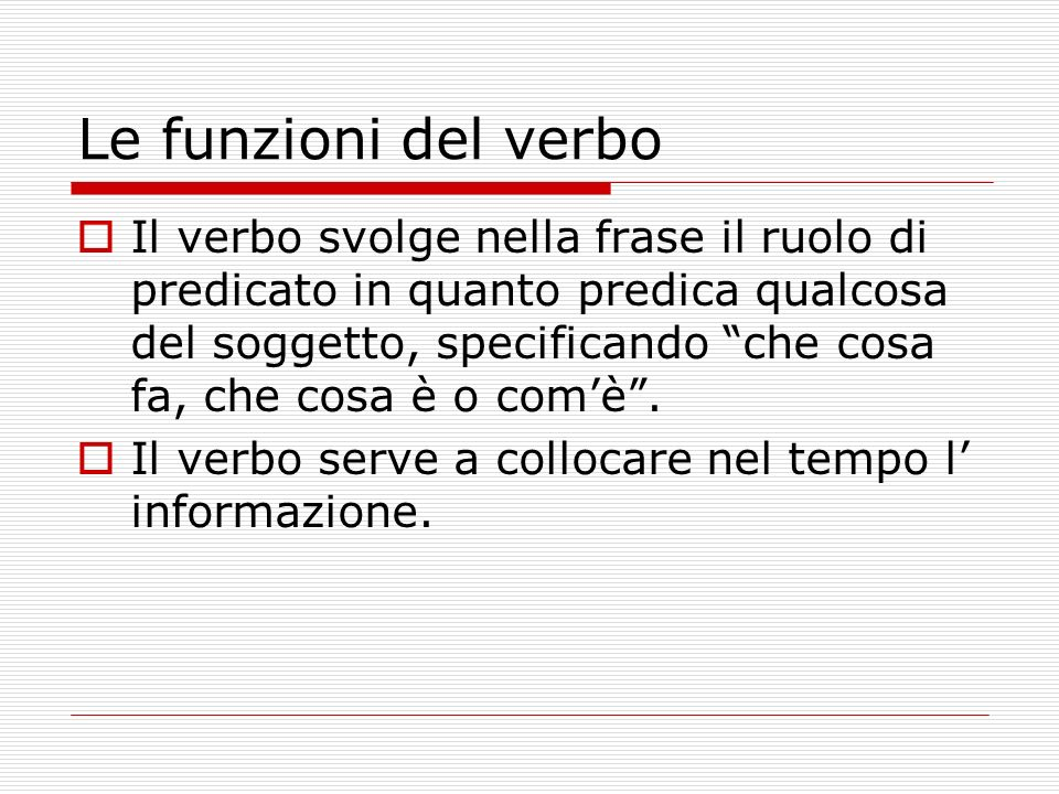 Le funzioni del verbo