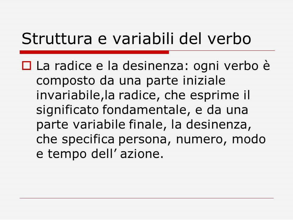 Struttura e variabili del verbo