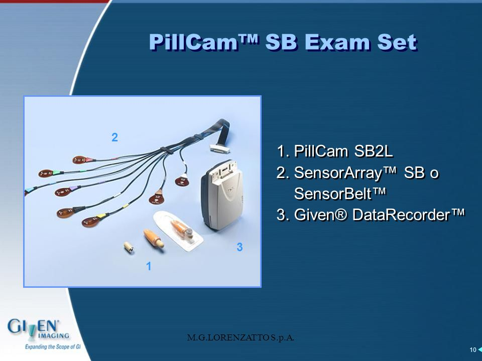 PillCam™ SB Exam Set 1. PillCam SB2L 2. SensorArray™ SB o SensorBelt™