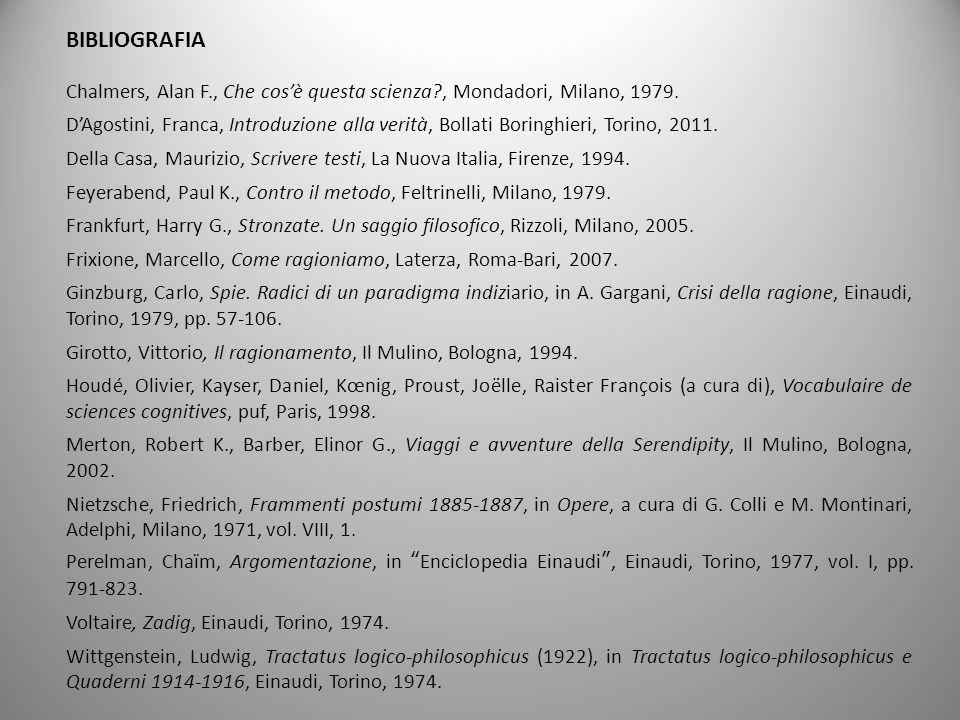 BIBLIOGRAFIA Chalmers, Alan F., Che cos'è questa scienza , Mondadori, Milano, 1979.