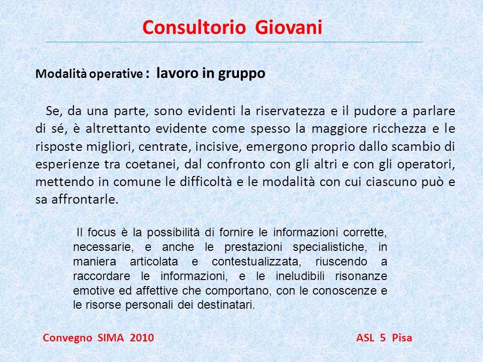 Consultorio Giovani Modalità operative : lavoro in gruppo.