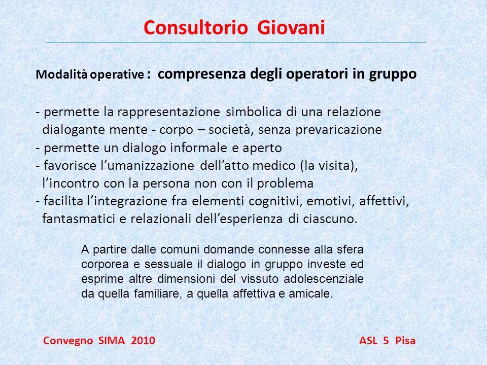 Consultorio Giovani Modalità operative : compresenza degli operatori in gruppo. permette la rappresentazione simbolica di una relazione.