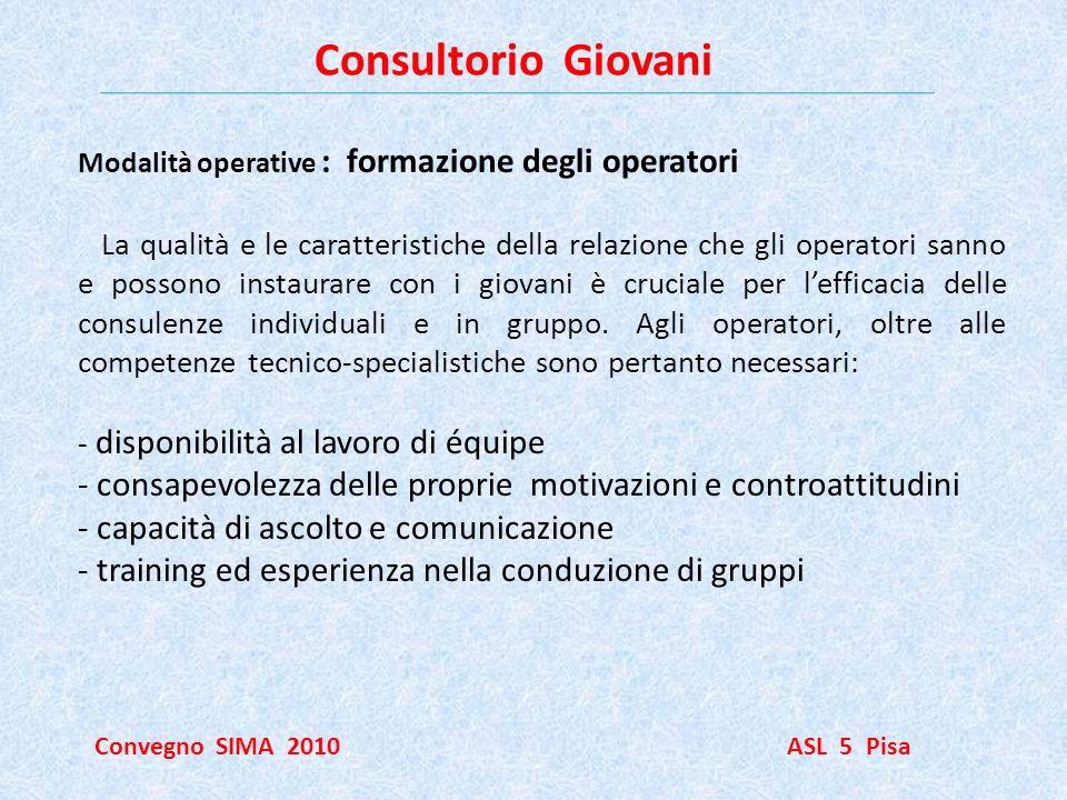 Consultorio Giovani Modalità operative : formazione degli operatori.