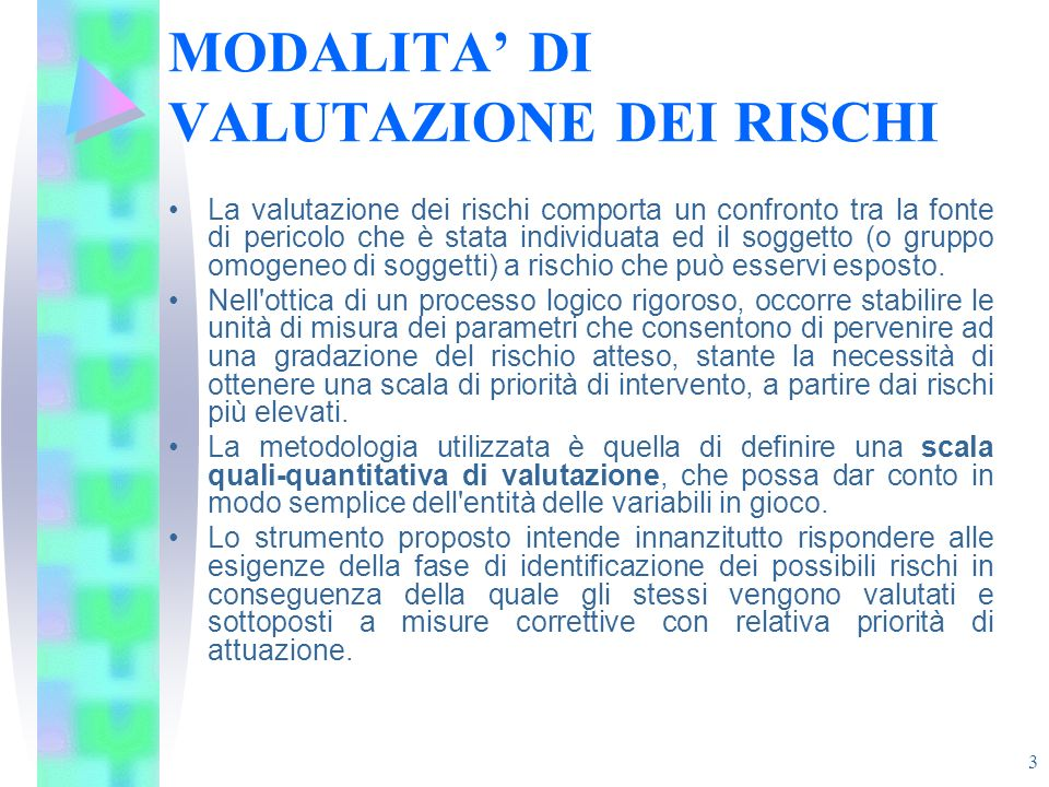 MODALITA' DI VALUTAZIONE DEI RISCHI