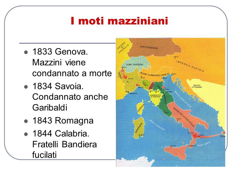 I moti mazziniani 1833 Genova. Mazzini viene condannato a morte