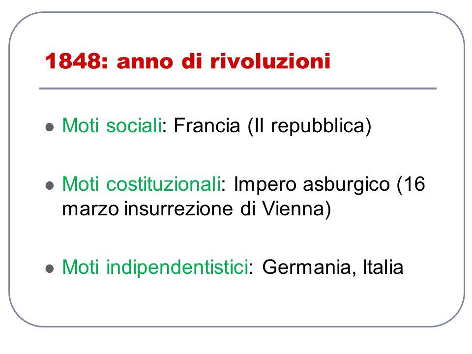1848: anno di rivoluzioni Moti sociali: Francia (II repubblica)