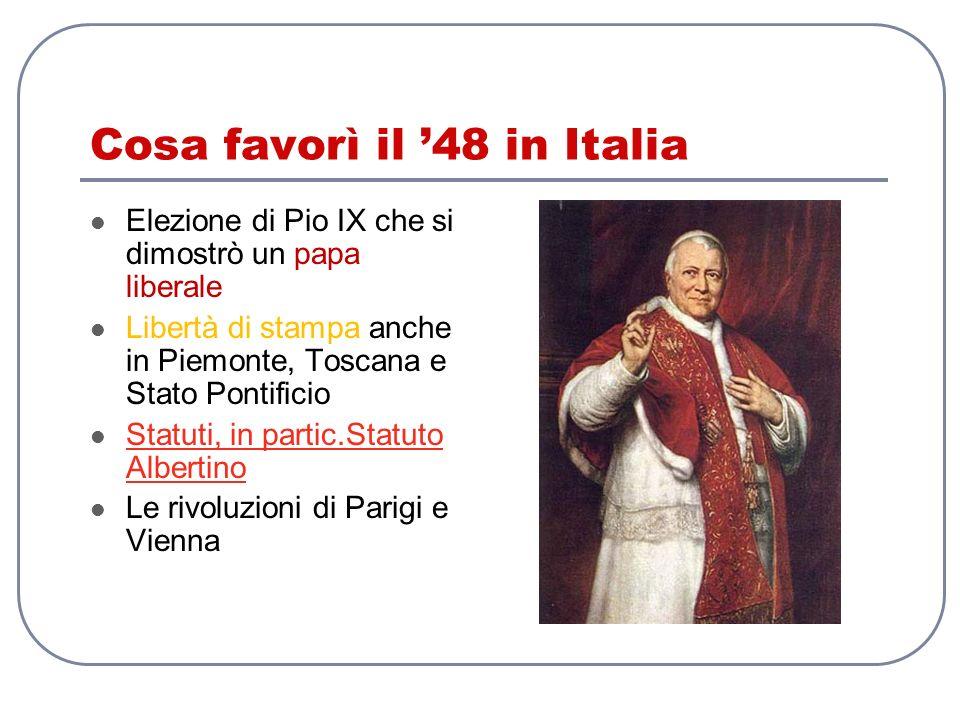 Cosa favorì il '48 in Italia