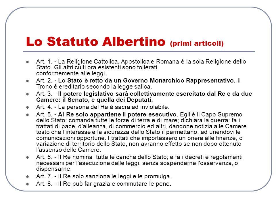 Lo Statuto Albertino (primi articoli)
