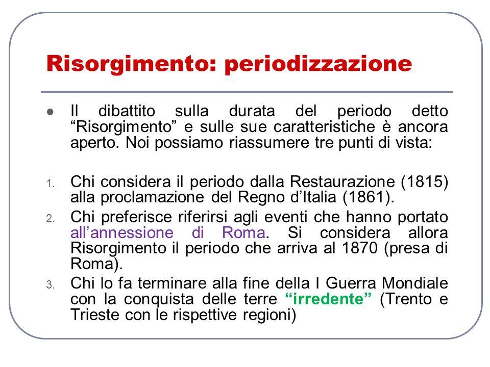 Risorgimento: periodizzazione