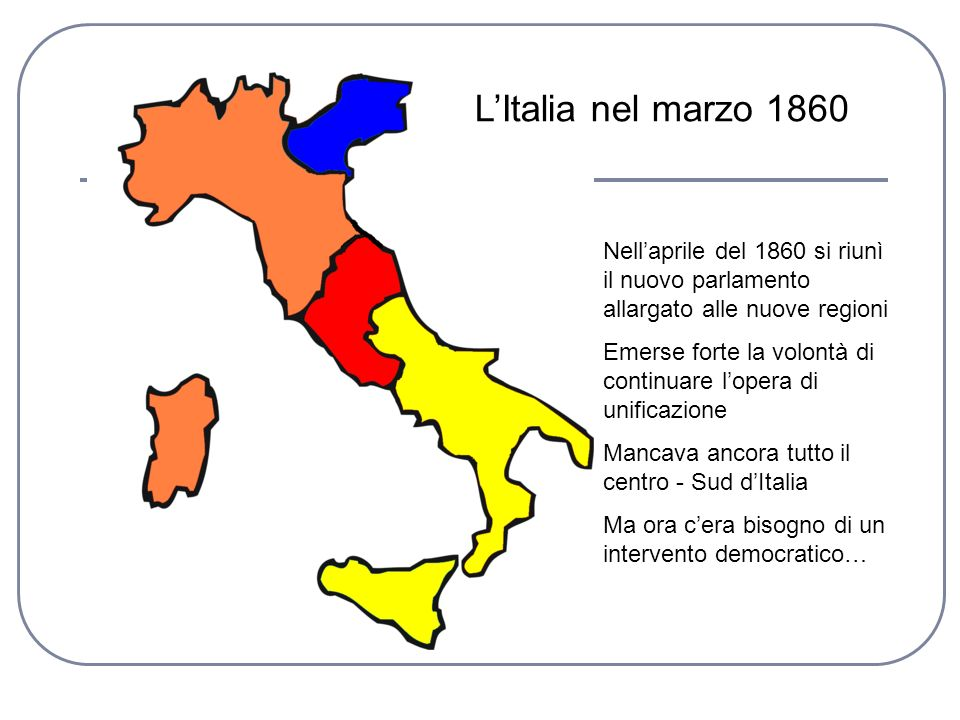 L'Italia nel marzo 1860 Nell'aprile del 1860 si riunì il nuovo parlamento allargato alle nuove regioni.