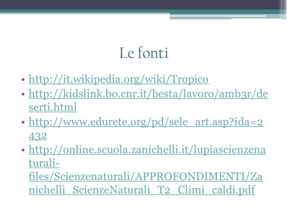 Le fonti http://it.wikipedia.org/wiki/Tropico