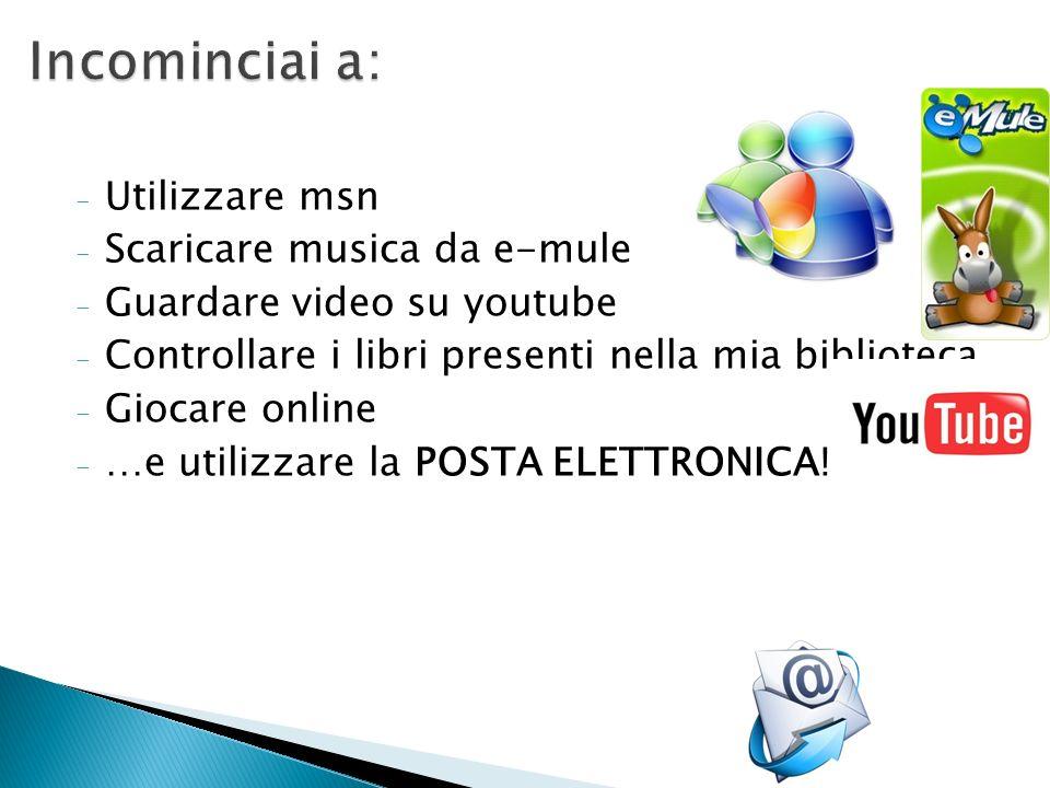 Incominciai a: Utilizzare msn Scaricare musica da e-mule