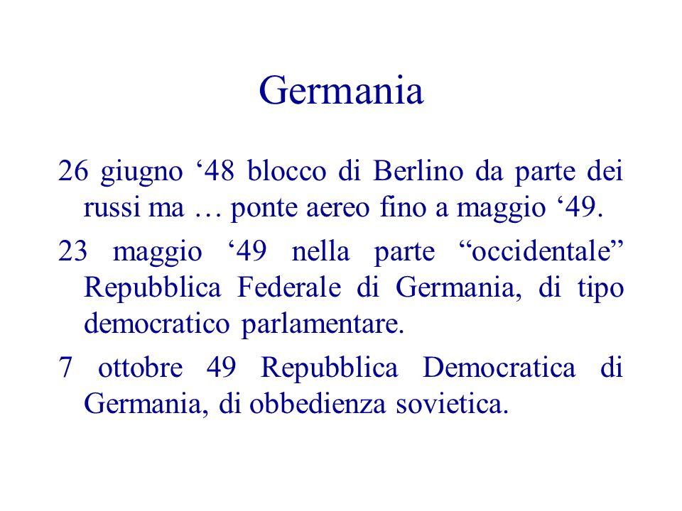 Germania 26 giugno '48 blocco di Berlino da parte dei russi ma … ponte aereo fino a maggio '49.