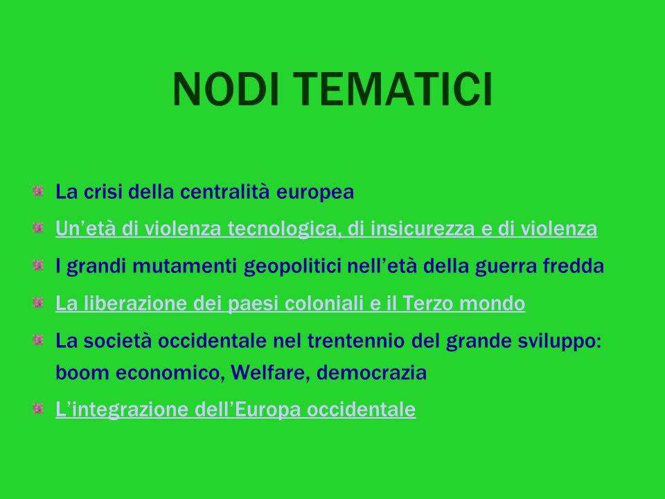 NODI TEMATICI La crisi della centralità europea