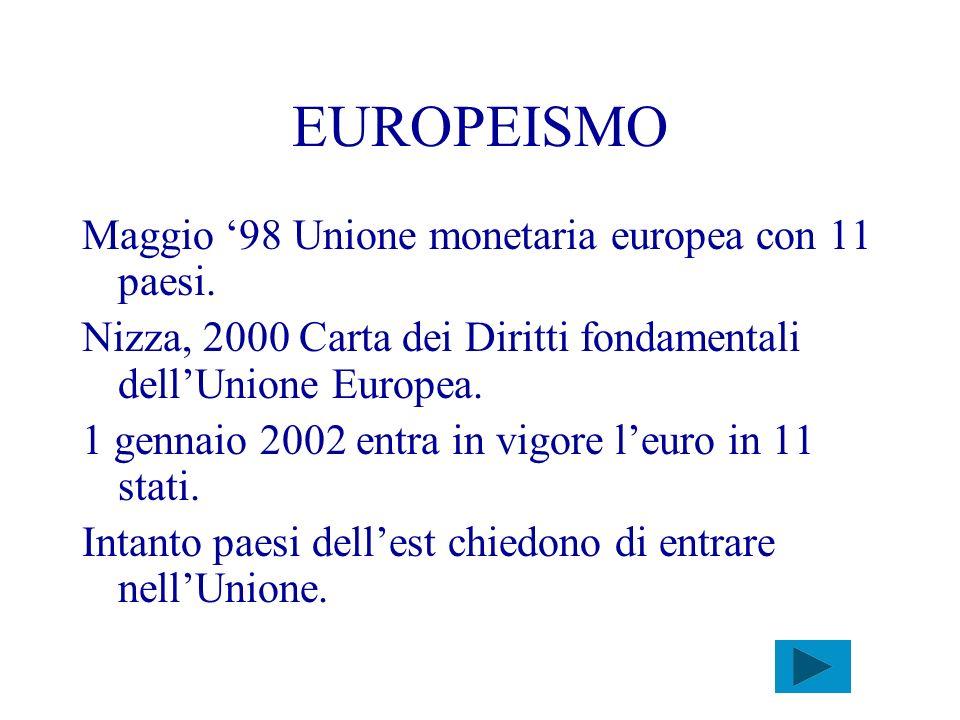 EUROPEISMO Maggio '98 Unione monetaria europea con 11 paesi.