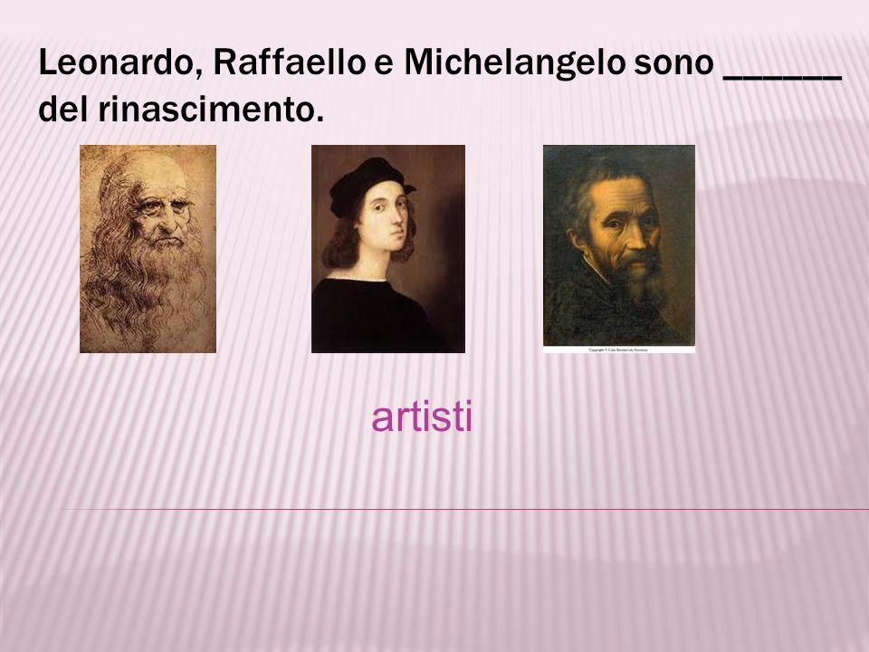 Leonardo, Raffaello e Michelangelo sono ______ del rinascimento.