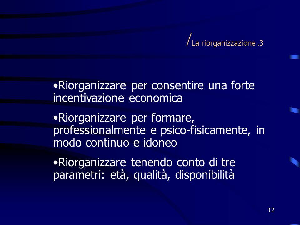 /La riorganizzazione .3 Riorganizzare per consentire una forte incentivazione economica.