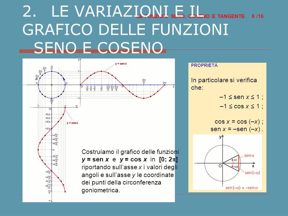 2. LE VARIAZIONI E IL GRAFICO DELLE FUNZIONI SENO E COSENO