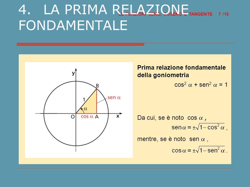 4. LA PRIMA RELAZIONE FONDAMENTALE