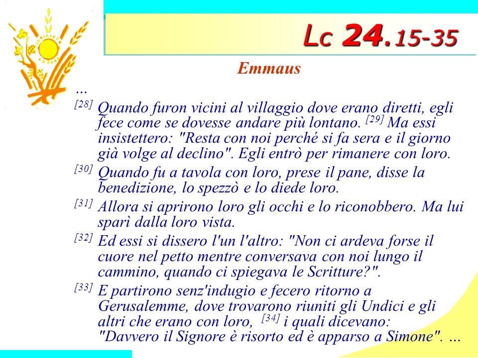 Lc 24.15-35 Emmaus. …