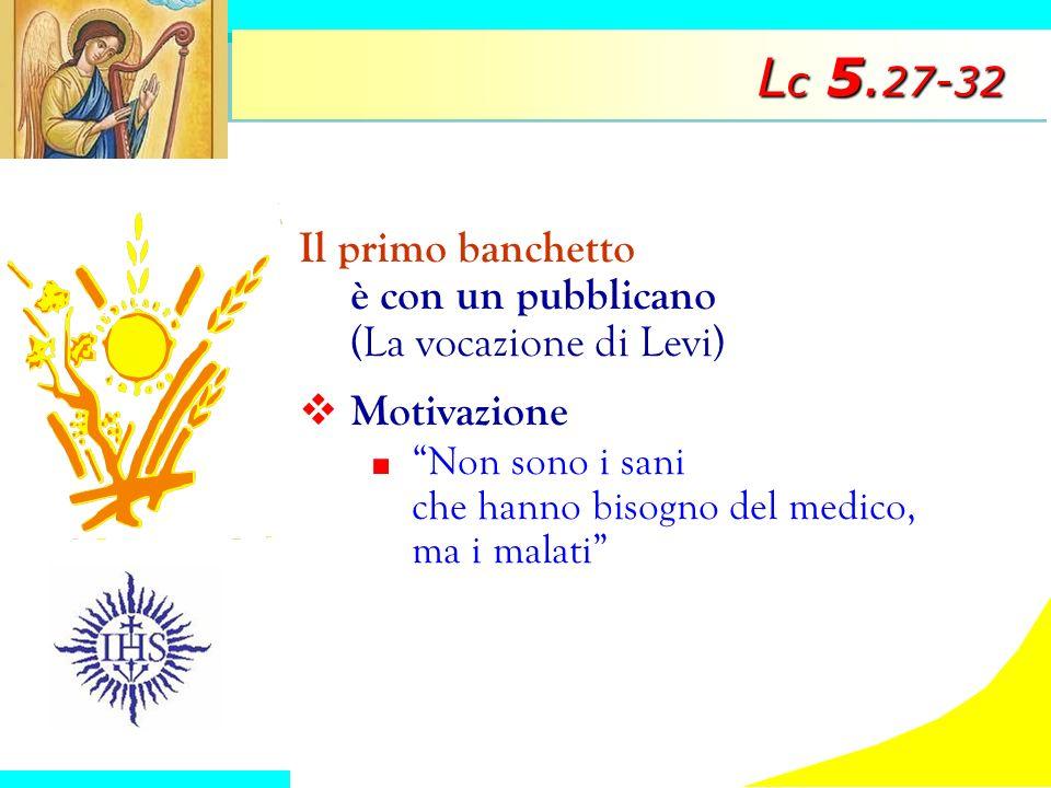Lc 5.27-32 Il primo banchetto è con un pubblicano (La vocazione di Levi) Motivazione.