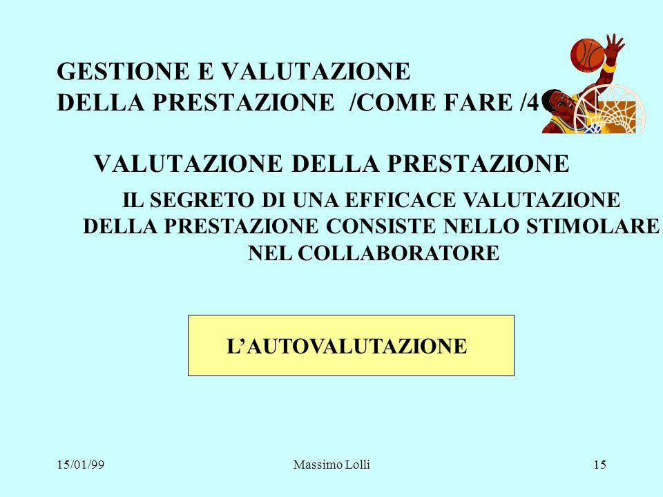GESTIONE E VALUTAZIONE DELLA PRESTAZIONE /COME FARE /4