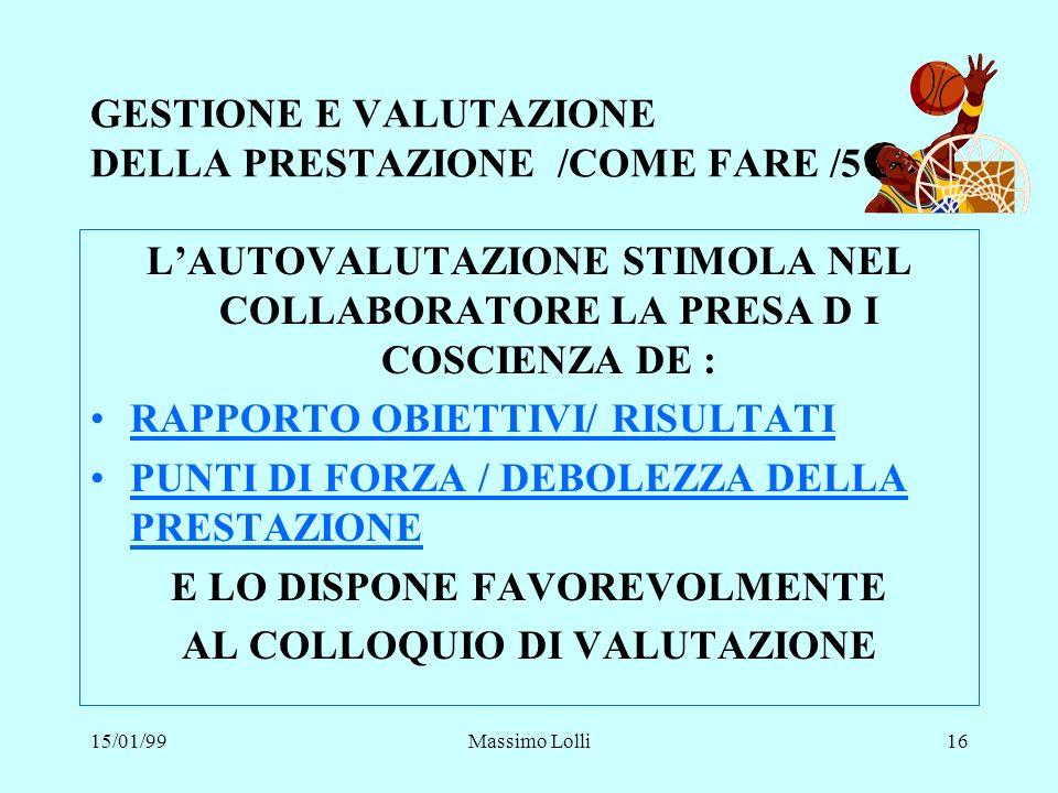 GESTIONE E VALUTAZIONE DELLA PRESTAZIONE /COME FARE /5
