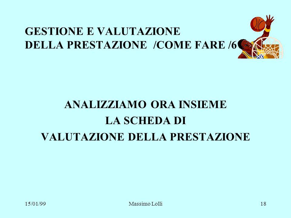 GESTIONE E VALUTAZIONE DELLA PRESTAZIONE /COME FARE /6
