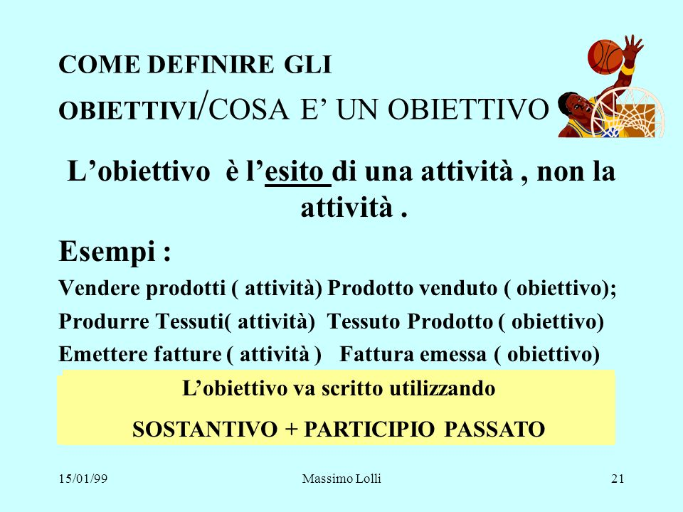 COME DEFINIRE GLI OBIETTIVI/COSA E' UN OBIETTIVO
