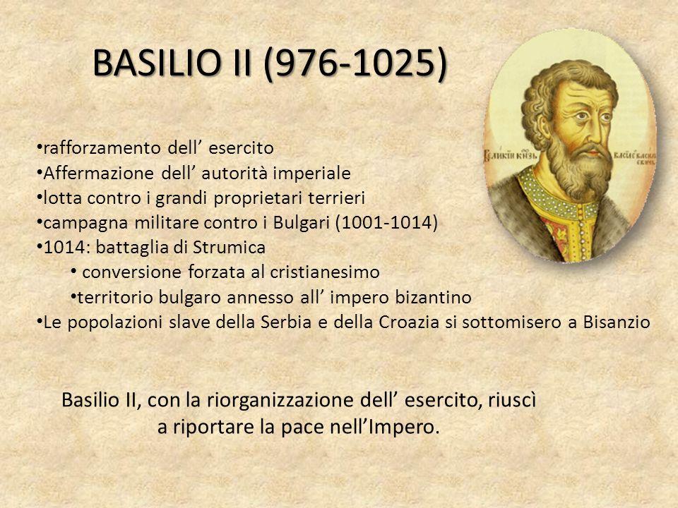BASILIO II (976-1025) rafforzamento dell' esercito. Affermazione dell' autorità imperiale. lotta contro i grandi proprietari terrieri.