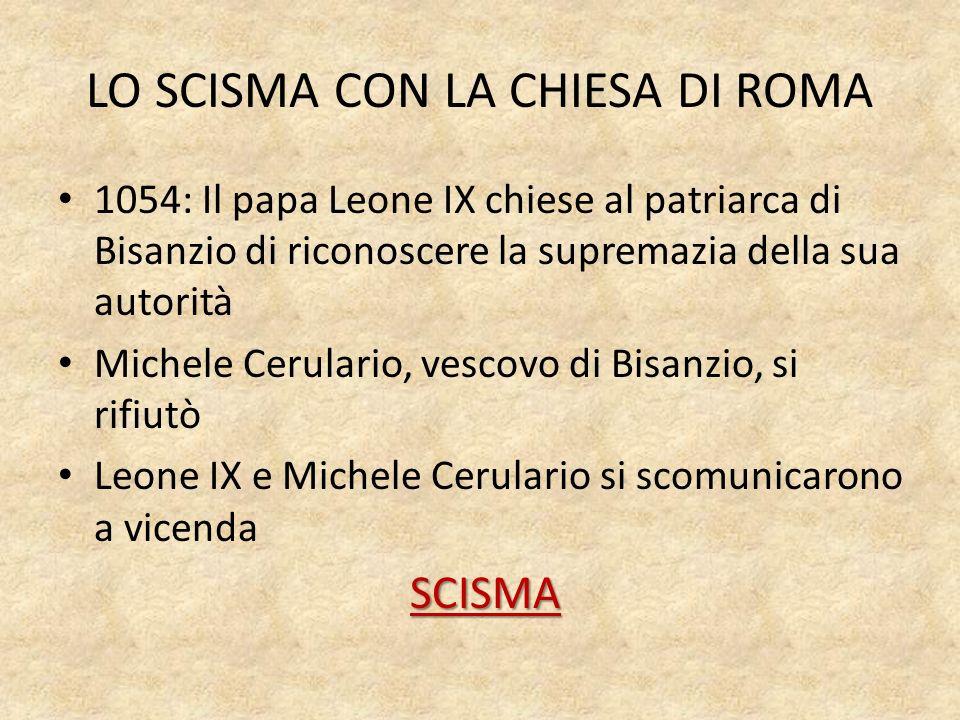 LO SCISMA CON LA CHIESA DI ROMA