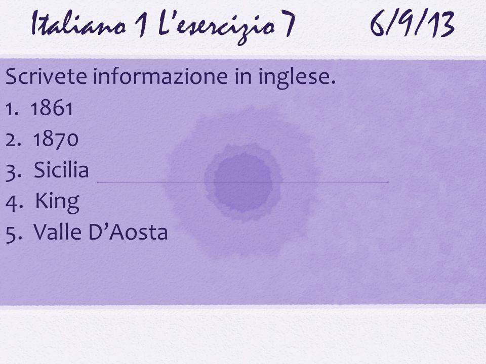 Italiano 1 L'esercizio 7 6/9/13