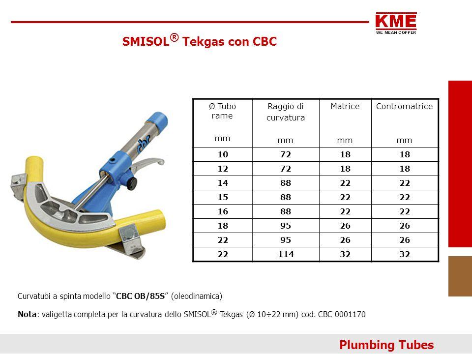 SMISOL® Tekgas con CBC Plumbing Tubes Ø Tubo rame mm Raggio di
