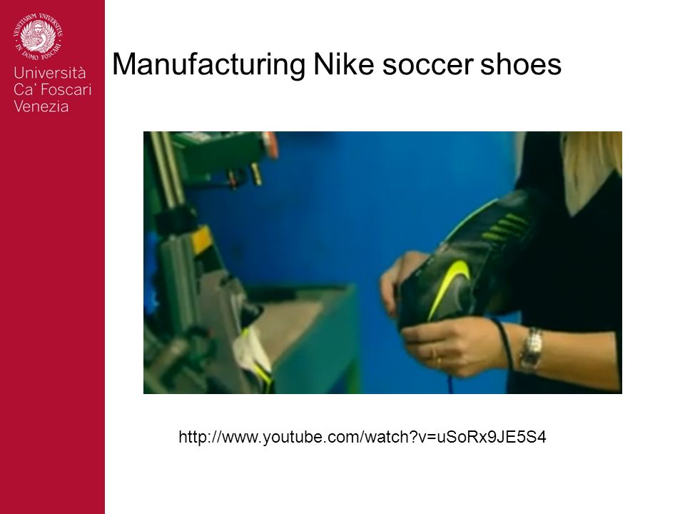 Manufacturing Nike soccer shoes
