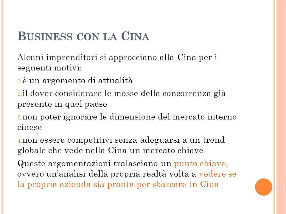 Business con la Cina Alcuni imprenditori si approcciano alla Cina per i seguenti motivi: è un argomento di attualità.